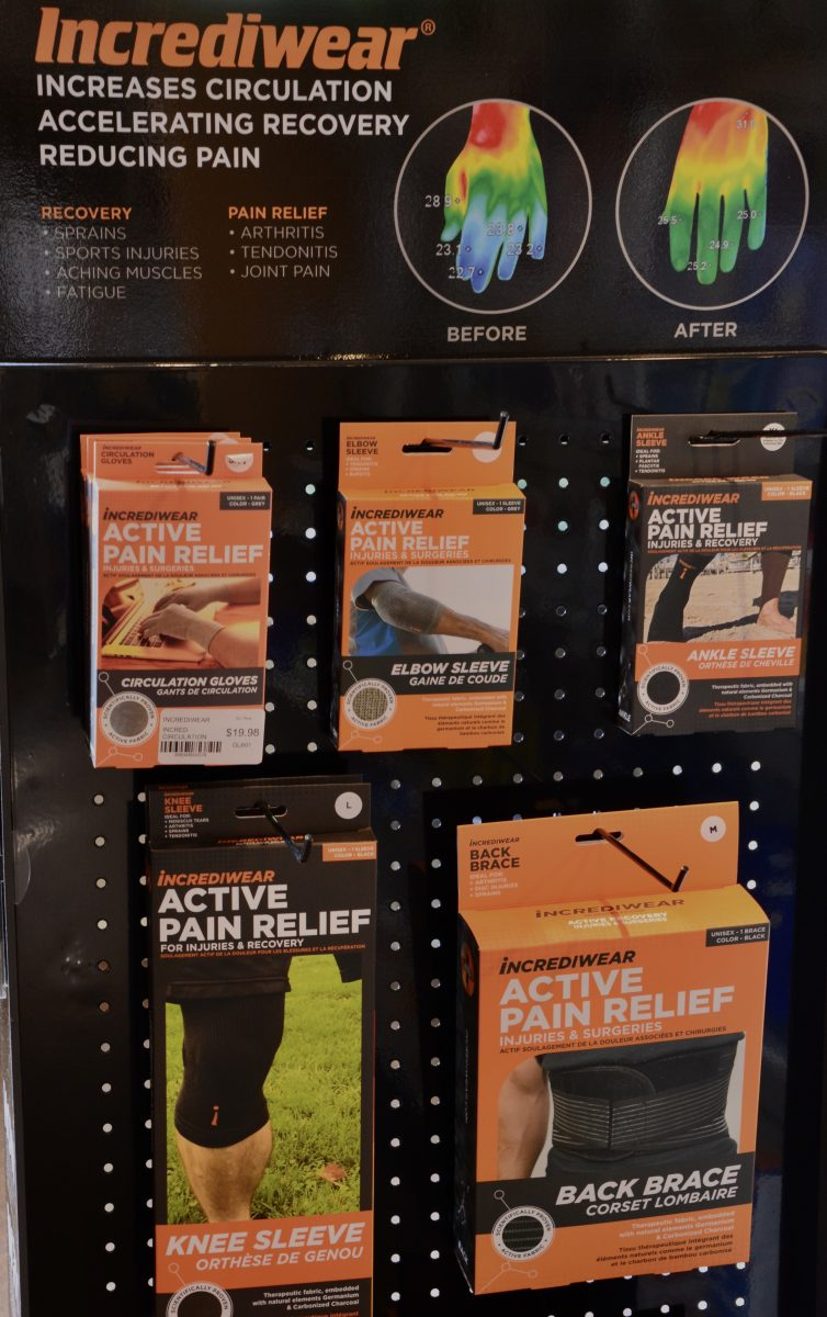 incrediwear compression products on wall display